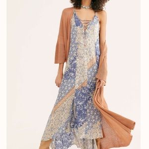 NWT Free People Work Of Art Printed Maxi Dress